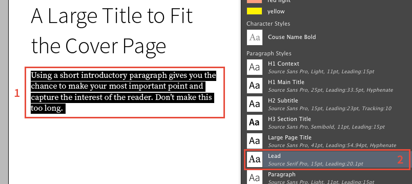 Apply styles in InDesign